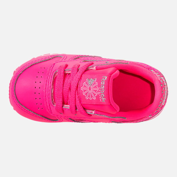 Top view of Girls' Toddler Reebok Classic Leather Girl Squad Casual Shoes in Acid Pink/White