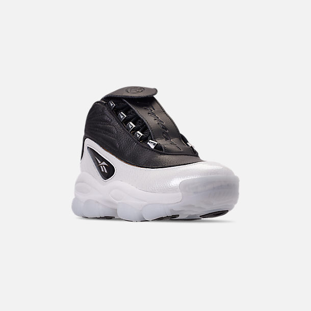 Three Quarter view of Men's Reebok Iverson Legacy Basketball Shoes in Black/White/Reebok Red/Brass