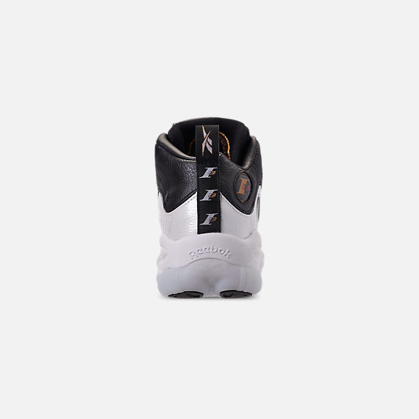 Back view of Men's Reebok Iverson Legacy Basketball Shoes in Black/White/Reebok Red/Brass