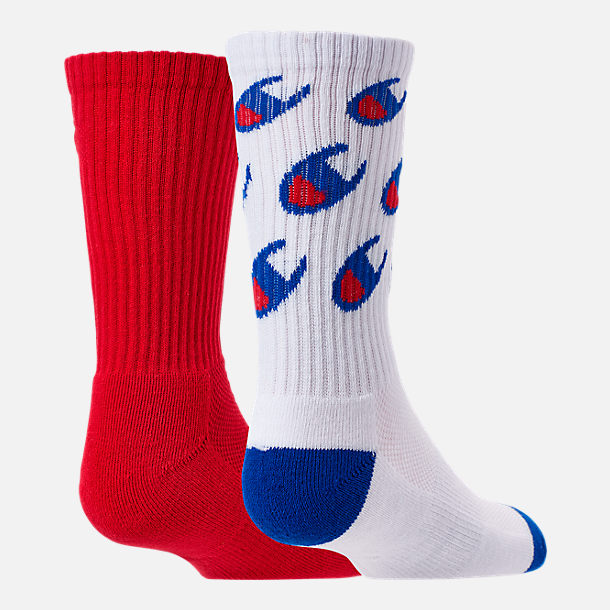 Alternate view of Kids' Champion Allover Print Big C 2-Pack Crew Socks in White/Red/Blue