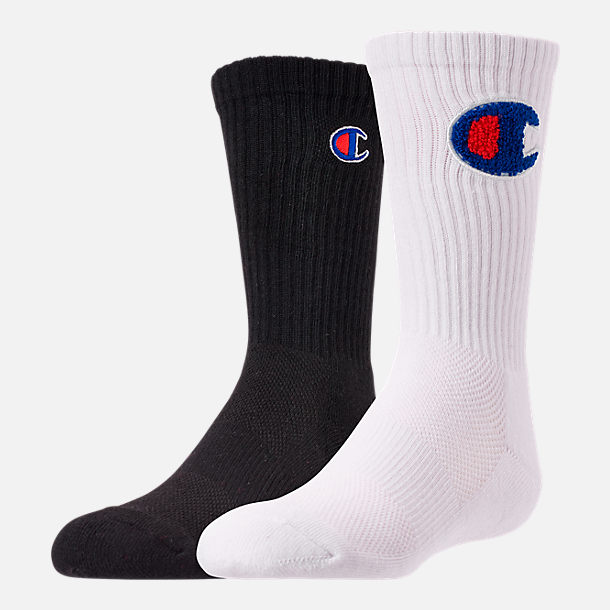 Front view of Kids' Champion Chenille Patch 2-Pack Crew Socks in White/Black