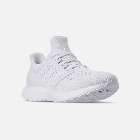 Three Quarter view of Kids' Grade School adidas UltraBOOST Clima Running Shoes in White/White/Grey
