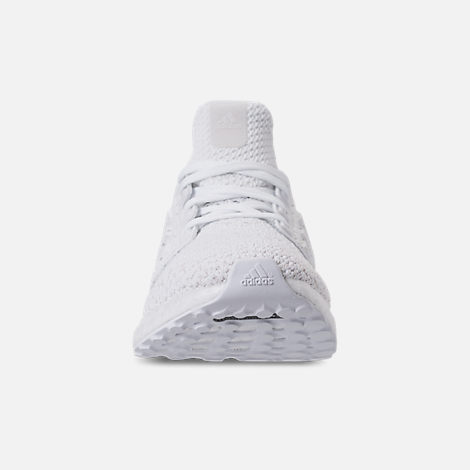 Front view of Kids' Grade School adidas UltraBOOST Clima Running Shoes in White/White/Grey