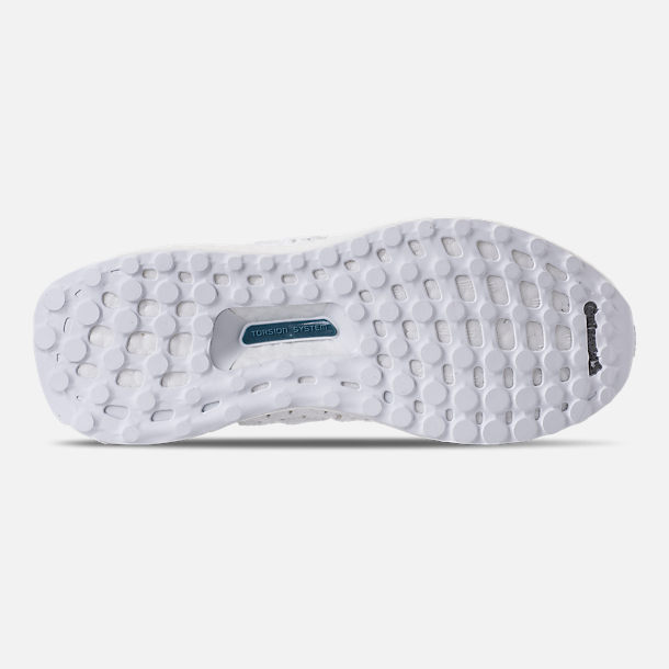 Bottom view of Kids' Grade School adidas UltraBOOST Clima Running Shoes in White/White/Grey