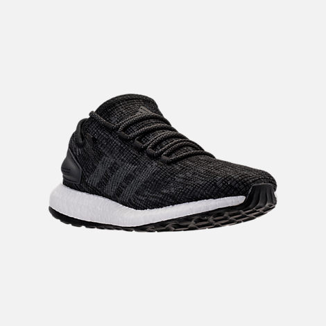 Three Quarter view of Men's adidas PureBOOST Running Shoes in Black/Grey/Carbon