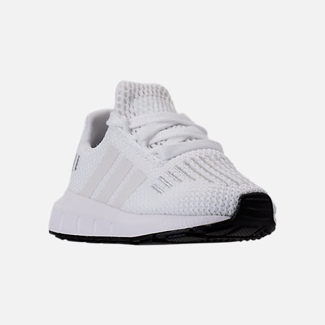 Three Quarter view of Girls' Toddler adidas Swift Run Casual Shoes in White/White