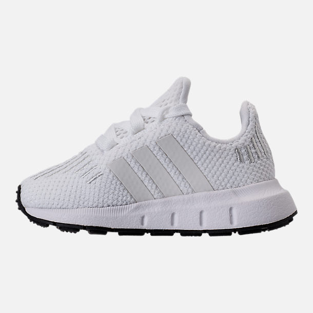 Left view of Girls' Toddler adidas Swift Run Casual Shoes in White/White