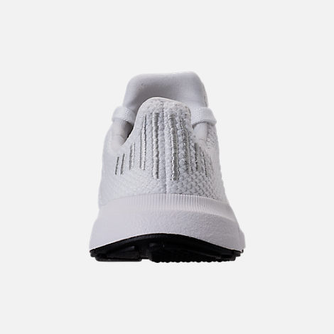 Back view of Girls' Toddler adidas Swift Run Casual Shoes in White/White