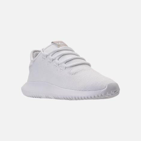 Three Quarter view of Kids' Grade School adidas Tubular Shadow Casual Shoes in White/White