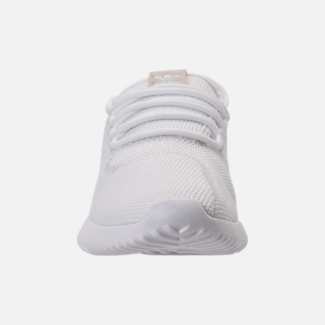 Front view of Kids' Grade School adidas Tubular Shadow Casual Shoes in White/White
