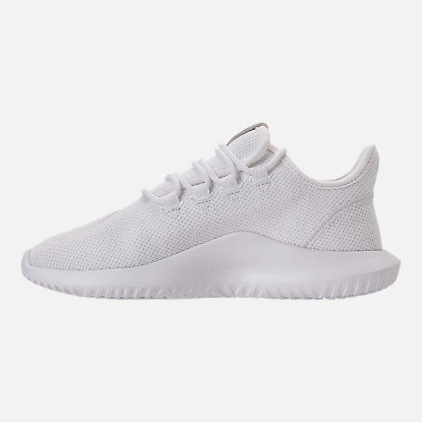 Left view of Kids' Grade School adidas Tubular Shadow Casual Shoes in White/White