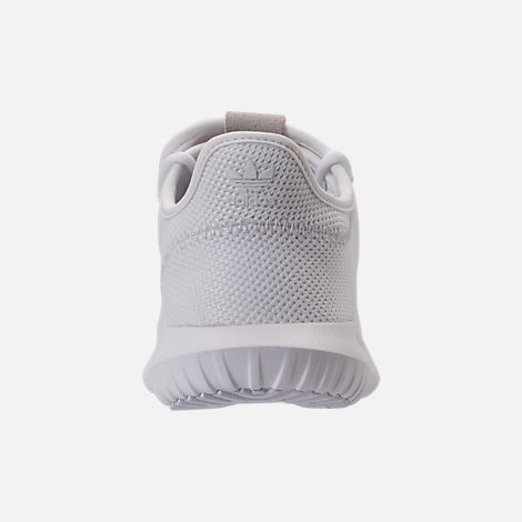 Back view of Kids' Grade School adidas Tubular Shadow Casual Shoes in White/White
