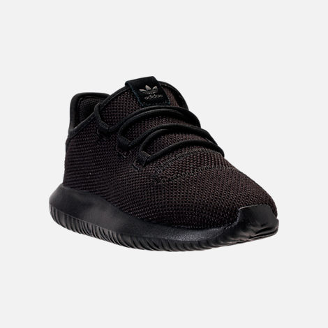 Three Quarter view of Boys' Preschool adidas Tubular Shadow Casual Shoes in Black/Black