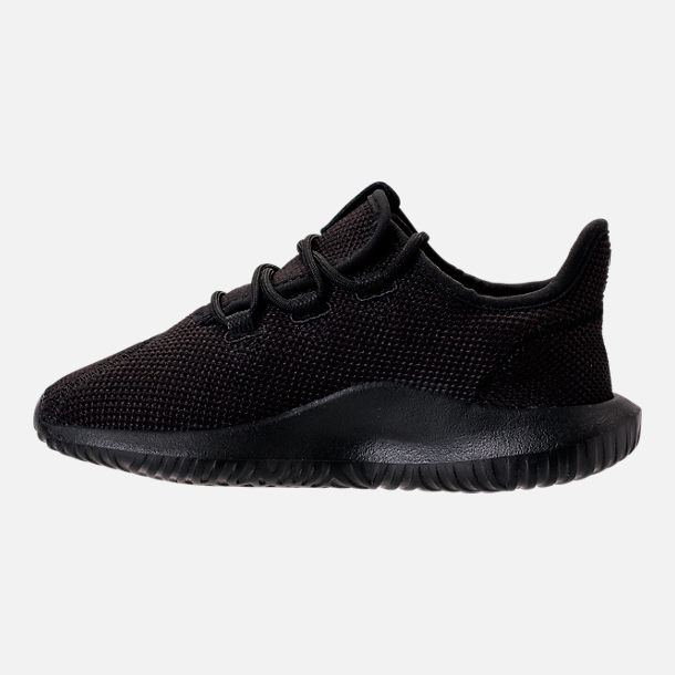 Left view of Boys' Preschool adidas Tubular Shadow Casual Shoes in Black/Black