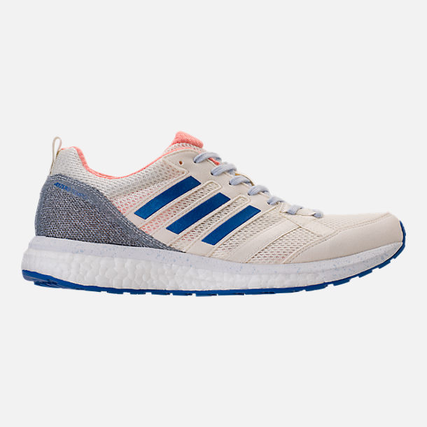 Right view of Women's adidas AdiZero Tempo 8 Running Shoes in Hi-Res Orange/Hi-Res Blue/Off White