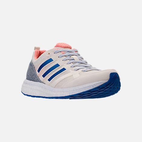 Three Quarter view of Women's adidas AdiZero Tempo 8 Running Shoes in Hi-Res Orange/Hi-Res Blue/Off White