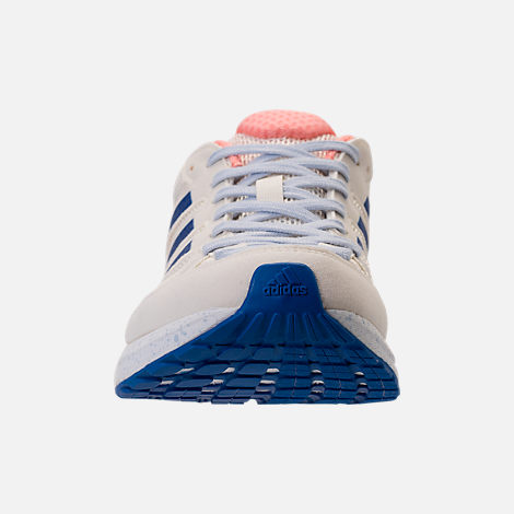 Front view of Women's adidas AdiZero Tempo 8 Running Shoes in Hi-Res Orange/Hi-Res Blue/Off White