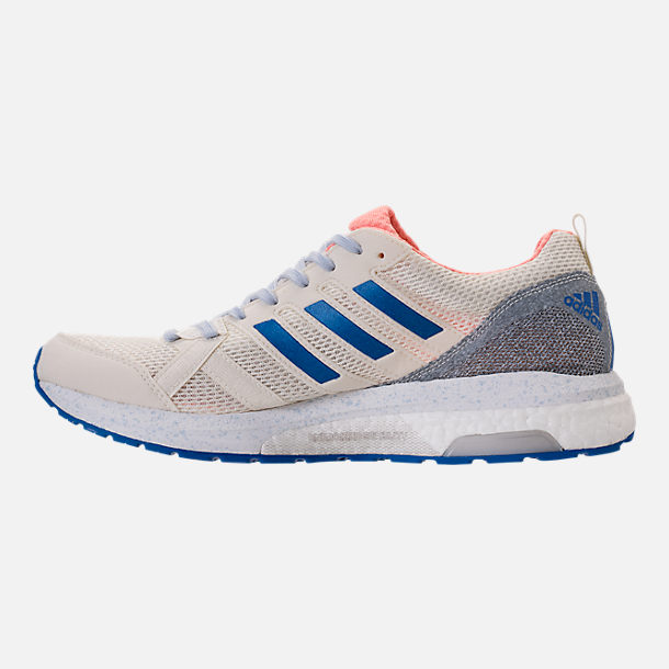 Left view of Women's adidas AdiZero Tempo 8 Running Shoes in Hi-Res Orange/Hi-Res Blue/Off White