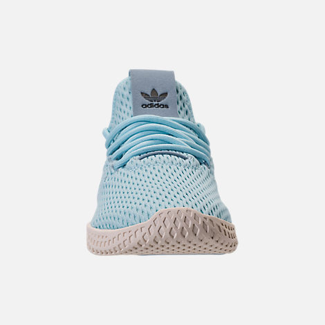 Front view of Boys' Grade School adidas Originals Pharrell Williams Tennis HU Casual Shoes in Ocean Blue/White