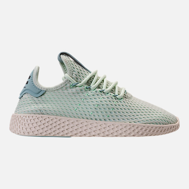 Right view of Boys' Grade School adidas Originals Pharrell Williams Tennis HU Casual Shoes in Seafoam/White
