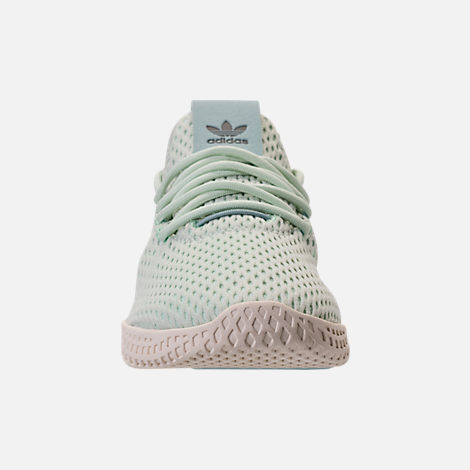Front view of Boys' Grade School adidas Originals Pharrell Williams Tennis HU Casual Shoes in Seafoam/White