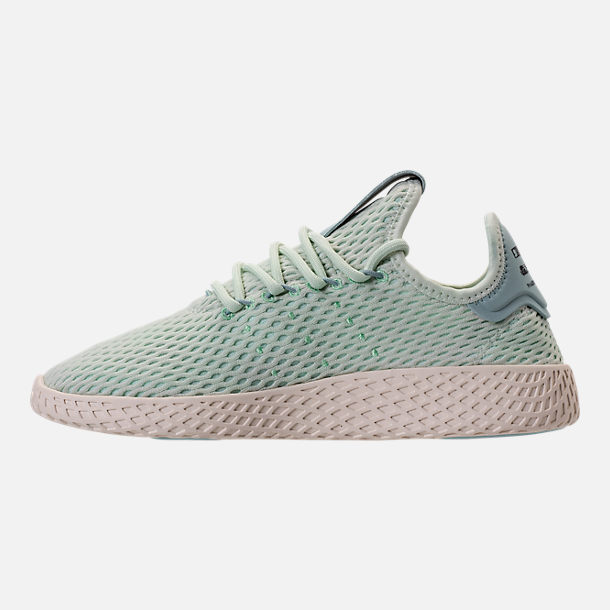 Left view of Boys' Grade School adidas Originals Pharrell Williams Tennis HU Casual Shoes in Seafoam/White