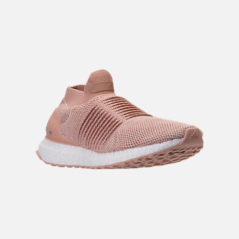 Three Quarter view of Women's adidas UltraBOOST Laceless Running Shoes in Ash Pearl/Ash Pearl/Ash Pearl