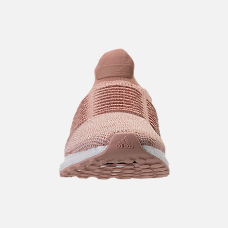 Front view of Women's adidas UltraBOOST Laceless Running Shoes in Ash Pearl/Ash Pearl/Ash Pearl