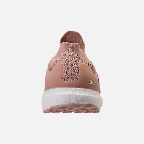 Back view of Women's adidas UltraBOOST Laceless Running Shoes in Ash Pearl/Ash Pearl/Ash Pearl