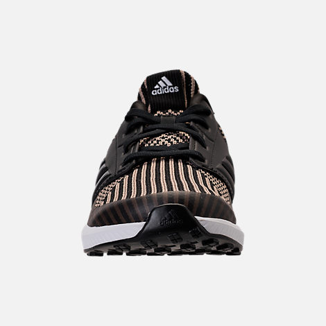 Front view of Boys' Preschool adidas RapidaRun Running Shoes in Core Black/Raw Gold