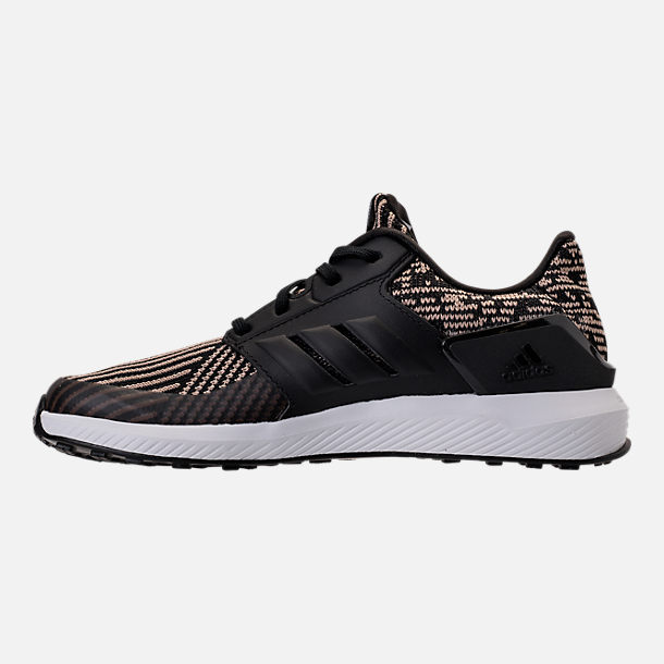 Left view of Boys' Preschool adidas RapidaRun Running Shoes in Core Black/Raw Gold