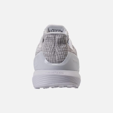 Back view of Boys' Preschool adidas RapidaRun Knit Running Shoes in Grey/White/White