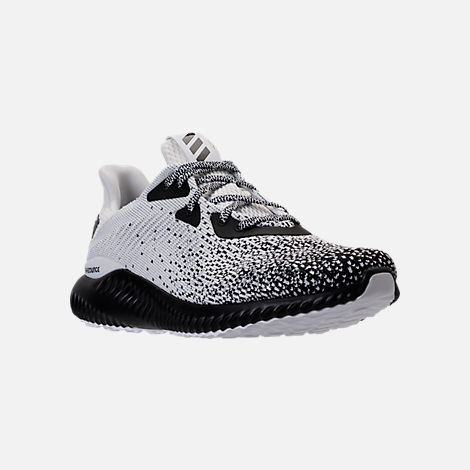 Three Quarter view of Men's adidas AlphaBounce Circular Knit Running Shoes in Core Black/Footwear White