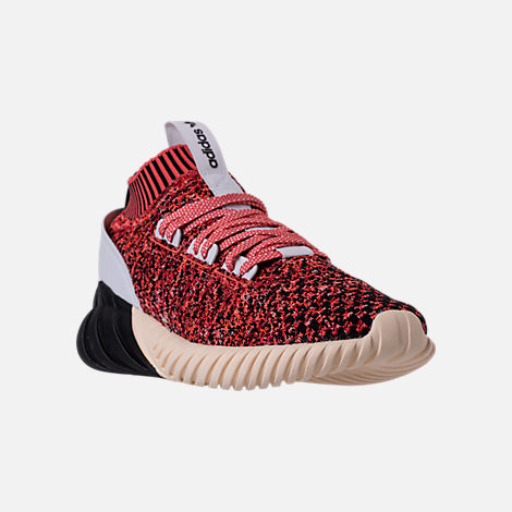 Three Quarter view of Men's adidas Originals Tubular Doom Sock Casual Shoes in Black/White