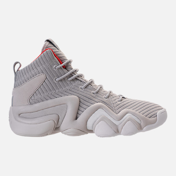 Right view of Men's adidas Crazy 8 ADV Circular Knit Basketball Shoes in Grey/White/Hi Res Red