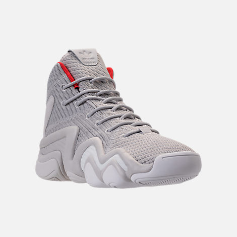 Three Quarter view of Men's adidas Crazy 8 ADV Circular Knit Basketball Shoes in Grey/White/Hi Res Red