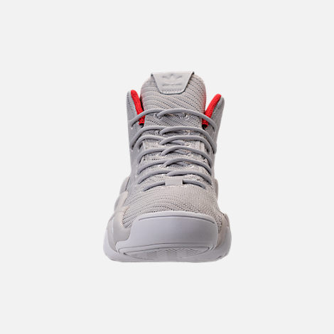 Front view of Men's adidas Crazy 8 ADV Circular Knit Basketball Shoes in Grey/White/Hi Res Red