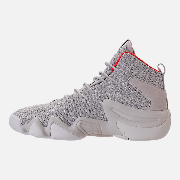 Left view of Men's adidas Crazy 8 ADV Circular Knit Basketball Shoes in Grey/White/Hi Res Red