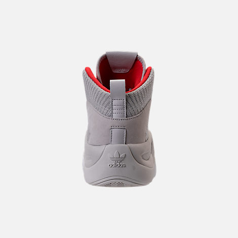 Back view of Men's adidas Crazy 8 ADV Circular Knit Basketball Shoes in Grey/White/Hi Res Red