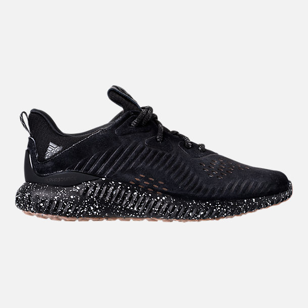 Right view of Men's adidas AlphaBounce Leather Casual Shoes in Core Black/Utility Black/Footwear White