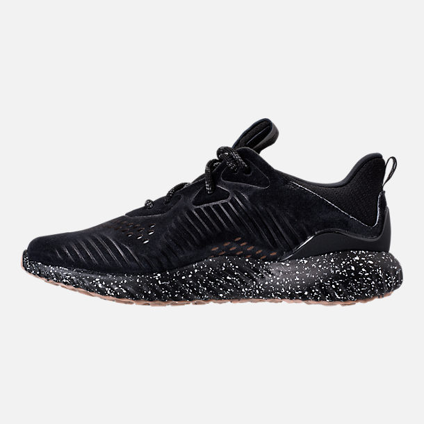 Left view of Men's adidas AlphaBounce Leather Casual Shoes in Core Black/Utility Black/Footwear White