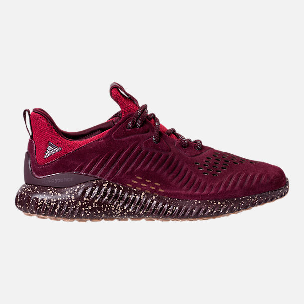 Right view of Men's adidas AlphaBounce Leather Casual Shoes in Maroon/Trace Khaki/Footwear White