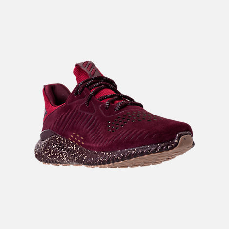 Three Quarter view of Men's adidas AlphaBounce Leather Casual Shoes in Maroon/Trace Khaki/Footwear White