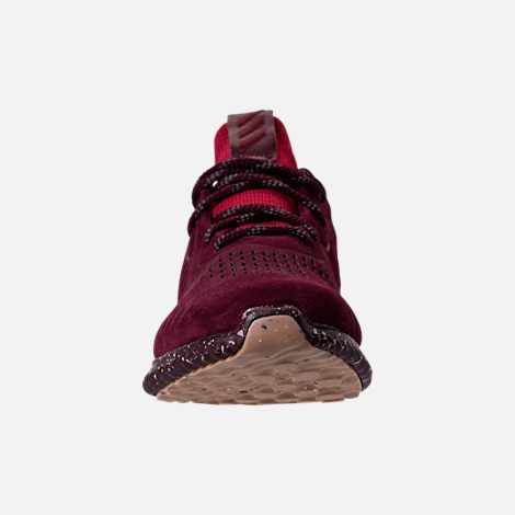 Front view of Men's adidas AlphaBounce Leather Casual Shoes in Maroon/Trace Khaki/Footwear White