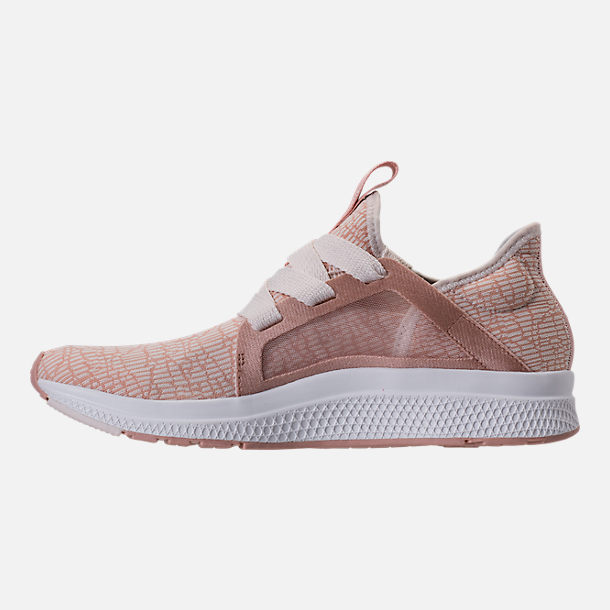 Left view of Women's adidas Edge Luxe Running Shoes in Ash Pearl/White