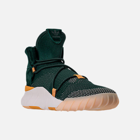 Three Quarter view of Men's adidas Originals Tubular X 2.0 Primeknit Casual Shoes in Green/Tactile Yellow/Chalk
