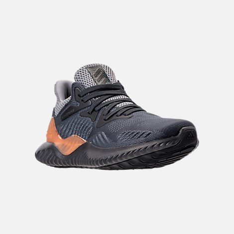 Three Quarter view of Kids' Grade School adidas AlphaBounce Beyond Running Shoes in Grey/Carbon/Solid Grey