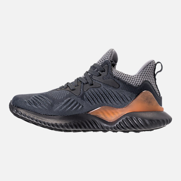 Left view of Kids' Grade School adidas AlphaBounce Beyond Running Shoes in Grey/Carbon/Solid Grey