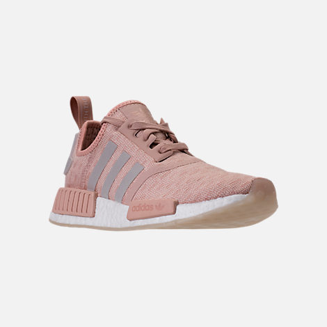 Three Quarter view of Women's adidas NMD R1 Casual Shoes in Ash Pearl/Chalk Pearl/White