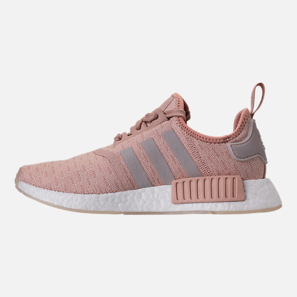 Left view of Women's adidas NMD R1 Casual Shoes in Ash Pearl/Chalk Pearl/White
